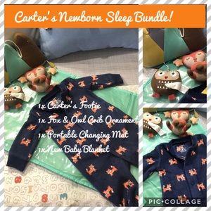 💜 EUC / New Bundle Carters Newborn Baby Fox Owl